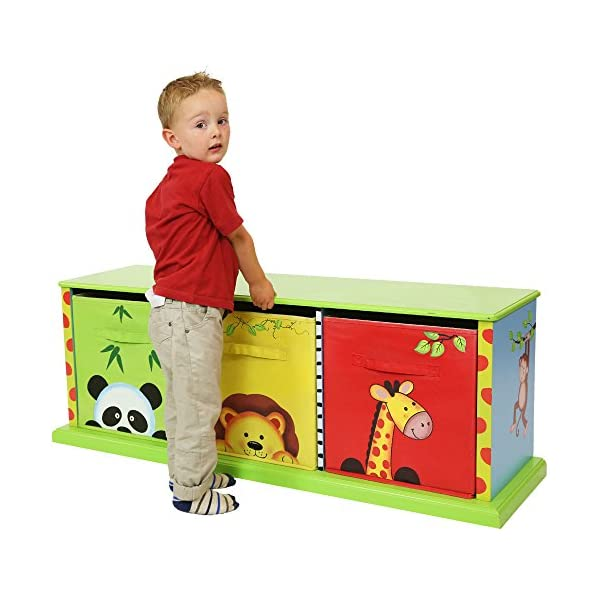Fantasy Fields - Sunny Safari themed Wooden Drawer Cubby with 3 Canvas Drawers |Hand Crafted & Hand Painted Toy Storage Unit Toybox | Child Friendly Water-based Paint Fantasy Fields By Teamson Colourful organised storage cabinet for those keepsakes, toys, games and nik naks. Dimensions 121.92 x 37.47 x 43.82. 3 canvas bags included Sturdy and free standing. Suitable for Kids Bedroom and Playroom enchancing your little ones organisational skills Teach your kids colour and character recognition and enhance their imaginative minds.  Great for encouraging children's independence 5