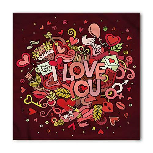 Romantic Bandana, Funky Hearts Arrows, Unisex Head and Neck Tie, Printed Unisex Bandana Head and Neck Tie Scarf Headband, Multicolor S 60x60cm - Funky Bandana