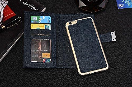 iPhone Case Cover IPhone 6s 6 cas, luxe de couleur unie 3 pliable PU Leather Wallet Case avec carte Cash Slot et Photo Window Pattern pour iPhone 6s 6 ( Color : Brown , Size : IPhone 6s ) Blue