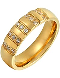 Adisaer Mujeres Acero inoxidable Anillo Casado Anillo Compromiso Zirconia cúbica Circulo Oro