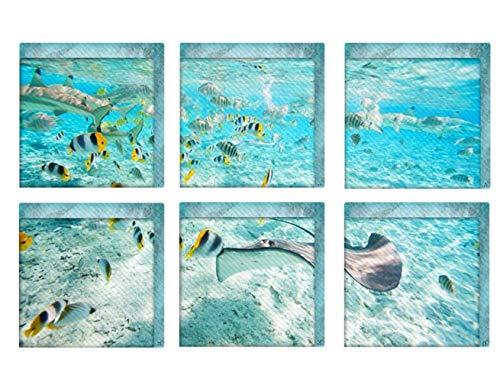 Jiaa Die Unterwasser-Wort PVC Badewanne Aufkleber Rutschfeste Batroom Abziehbilder,15cm×15cm,6 Stück (Badewanne Abziehbilder)