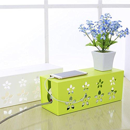 Mittlerer Sockel (Yazi Creative Draht Sockel Aufbewahrungsbox Elektrische Kabel Management mittlere Case Tidy Organizer Blume Muster für Büro Schreibtisch Grün)