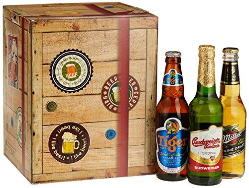 """Biere """"Welt & Deutschland"""" Geschenkbox mit Bier aus Dänemark + Niederlande + USA +…Tuborg + Heineken + Budweiser Budvar +… und aus Deutschland. Tolles Bier Geschenk für"""