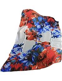 FERETI Longue écharpe Foulard soie fleurs Bleu Orange Rouge Beige e Multi  couleur polychrome b36c39d5147