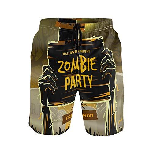DEZIRO - Bañador para Hombre con diseño de Zombie de Halloween, Secado rápido 1 XXL