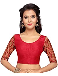 9cac762ec7eb6 STUDIO SHRINGAAR WOMEN S BROCADE SLEEVE READYMADE SAREE BLOUSE WITH ROUND  NECK