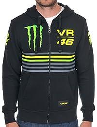 Sweat zippé à capuche Valentino Rossi Monster Energy VR46 Sun-Moon-Stripe Noir