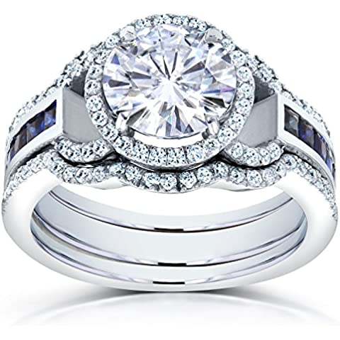 Forever Brilliant Moissanite, con diamante e zaffiro & CTW-Set da 3, colore: platino, colore: nero (3 pezzi) - Moissanite Diamante Zaffiro