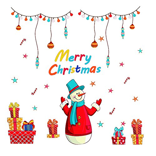 Forepin® Natale Vetrofanie per Vetrine Murali Fai Parete da te Finestre Casa Decorazione Vetrina - Nuova Casa Di Vetro Ornamento