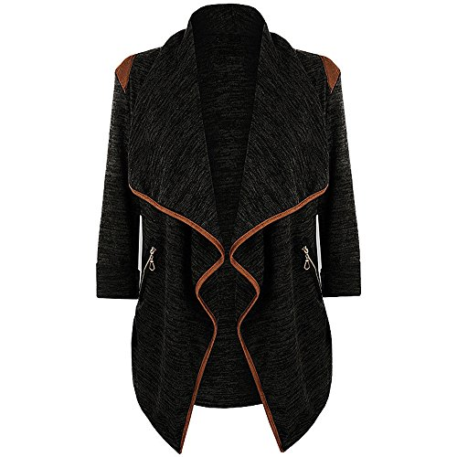 Sommer Jacke Stricken (YunYoud Damen Große Größe Jacke Gestrickt Beiläufig Strickjacke Tops Lange Ärmel Mantel Einfarbig Strickjacke Lose Mode Jacken Irregulär Stricken Outwear (L, Schwarz))