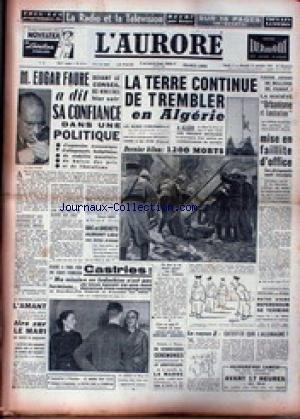 AURORE (L') [No 3111] du 11/09/1954 - TREMBLEMENT DE TERRE EN ALGERIE - 1200 MORTS - EDGAR FAURE A DIT SA CONFIANCE DANS UNE POLITIQUE SPECIFIQUE - CASTRIES - INDOCHINE.