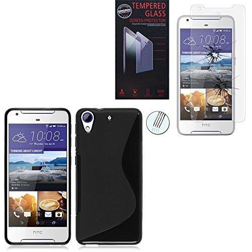 HTC Desire 628/ 628 dual sim Coque HCN PHONE® S-Line TPU Gel Silicone couleur NOIR pour HTC Desire 628/ 628 dual sim + 1 Film Verre Trempé TRANSPARENT