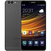Bluboo Dual Smartphone Android 6.0 OTG 5,5 Pulgadas 2,5D 1080P FHD Cámara 13MP & 5MP MTK6737T Quad Core 2GB RAM 16GB ROM Soporta Tarjeta TF Cuerpo Metal Huellas Dactilares Desbloqueado en 0,1s, Negro