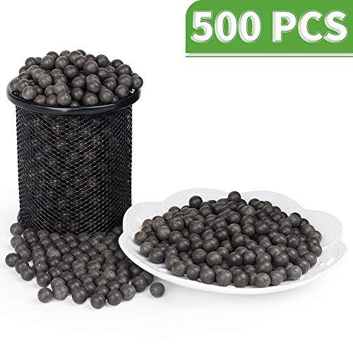 LuckIn Slingshot Ammokugeln 10 mm Hartton-Kugel biologisch abbaubar mit Tragetasche, Bodenfarbe, 500 Stück (Härten Ton)