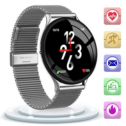 Bluetooth Smartwatch Fitness Uhr Intelligente Armbanduhr - Fitness Tracker Smart Watch Sport Uhr Blutdruck Herzfrequenz Schlafmonitor für Frauen und Männer IOS & Android (Silber)