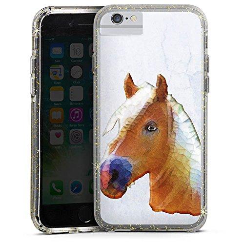 Apple iPhone 6s Bumper Hülle Bumper Case Glitzer Hülle Pferd Horse Stute Bumper Case Glitzer gold