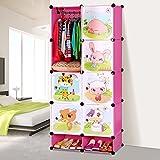 MENA Einfache Kinder Cartoon Baby Kleiderschrank Aufbewahrungsschränke montiert Kleiderschrank Kunststoff-Harz-Zusammensetzung ( farbe : Pink )