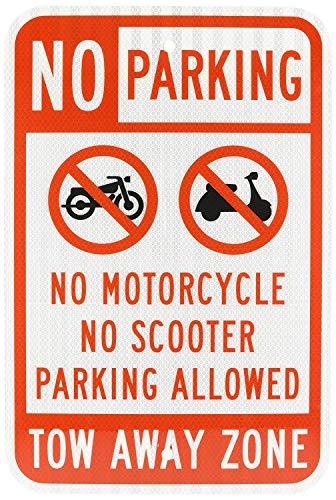 rüche No Parking No Motorrad Scooter Parking Allowed Schwarz Rot auf weiß Wandschild Poster gardern Schild 30 x 45 cm ()