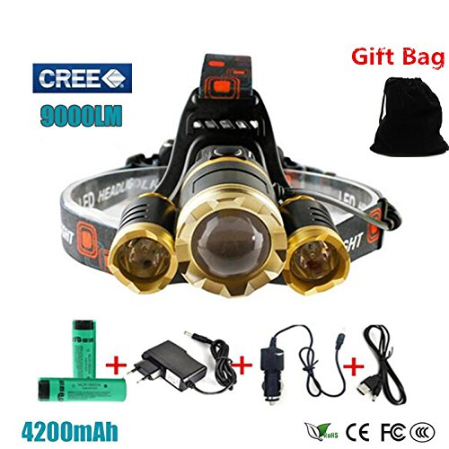Generic Package 2, 1T6 2R5 : For Hunting Led Headlight 3T6 9000Lm Rechargeable Led Headlamp Flashlight Head Torch Linterna Xml T6+2Q5 7500Lm + 18650 Battery