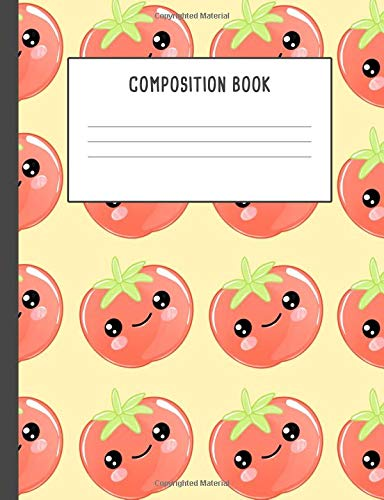 Composition Book: Kawaii Red Tomato With a Face Yellow, 200 pages College ruled (7.44 x 9.69) por Lili Journals