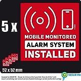 MOBILE Monitored Alarm System Installed 5 Aufkleber Sticker 52 x 52 mm rot mit Warnsymbol für 24 h rund-um-die-Uhr Überwachungssystem für Haus, Wohnung Geschäft, Garage von secur me, Karten-Lilly