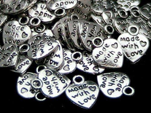 50x Argento Tibetano Made with Love Cuore Ciondoli-San Valentino argento antico gioielli perline Crafting risultati