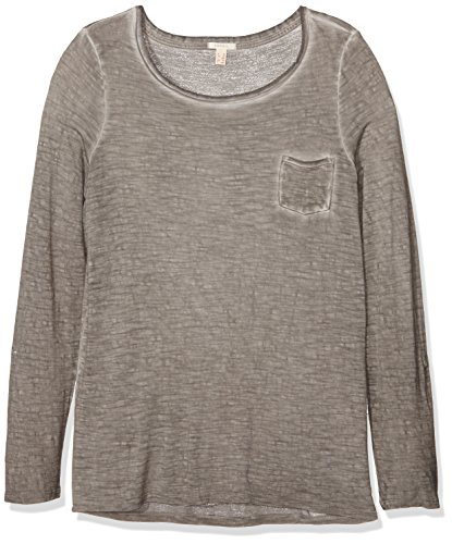 ESPRIT Damen Langarmshirt 086ee1k013 Grau (BROWN GREY 025)