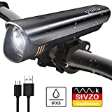 IZUKU IZUKU Fahrradlicht LED StVZO Zugelassen Fahrradbeleuchtung mit Wasserdicht USB Wiederaufladbare Fahrradlichter Frontlicht mit Samsung Li-ion-Akku Blendfreie Frontlichter Fahrradlampe Frontscheinwerfer