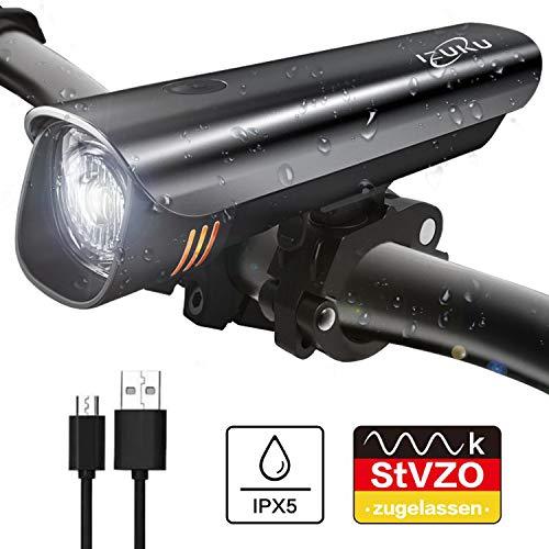 IZUKU Fahrradlicht LED StVZO Zugelassen Fahrradbeleuchtung mit Wasserdicht USB Wiederaufladbare Fahrradlichter Frontlicht mit Samsung Li-ion-Akku Blendfreie Frontlichter Fahrradlampe Frontscheinwerfer