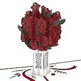 Bouquet Rose Pop Up Carte, Carte 3D, Carte Fleur, Carte Romance, Carte d'anniversaire