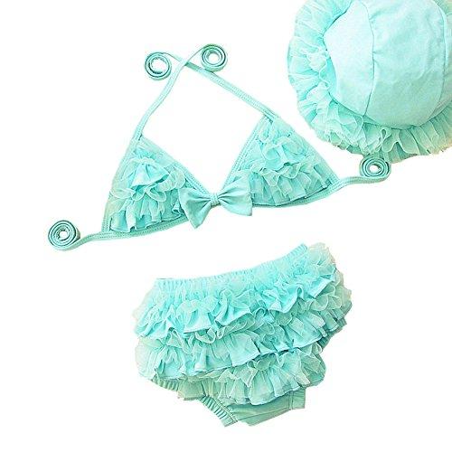 OMSMY Bikini Mädchen Baby 3tlg Mütze + Top + Unterteil Sonnenhut Baby Neckholder Spitze Bikini (S (Körpergröße 80-90CM), blau)
