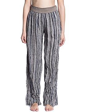 [Patrocinado]Abbino 7171 Pantalones anchos con Cinturilla para Mujeres - Hecho en ITALIA - 4 Colores - Entretiempo Primavera...
