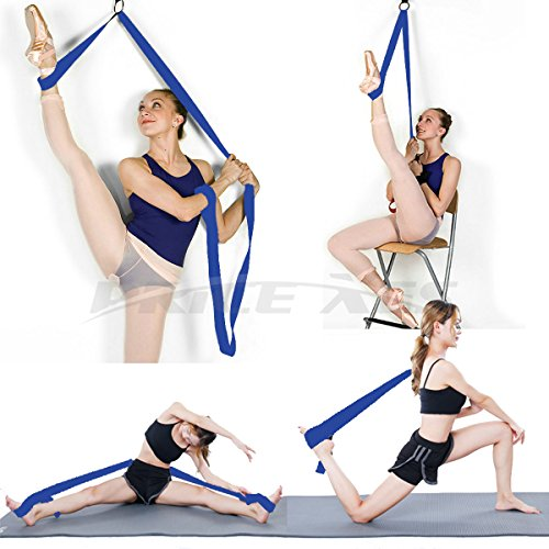Verstellbare Bein Keilrahmen verlängern Ballett Stretch-Band – Einfache Installation an der Tür – Flexibilität Dehnen Leg Strap ideal für Ballett Cheer Tanz Gymnastik Trainer Stretching Equipment Taekwondo Training, blau (Leg Strap Bands)