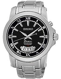 Seiko Snq147p1 Negro Y Plata Inoxidable Premier Calendario Perpetuo Para Hombre Reloj De Acero Steel
