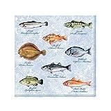 Ambiente 20 St. Servietten Papierservietten 3-lagig Seafood Fishes Fische Blau Weiss 33 x 33 cm