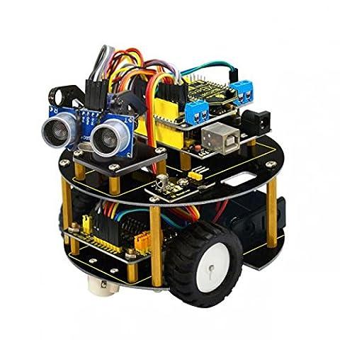 MagiDeal Kit Voiture Robot Bluetooth L298N Entraînement de Moteur Tortue Intelligente Kit d'Apprentissage Diy Programmable Kit de Montage Complet pour Arduino