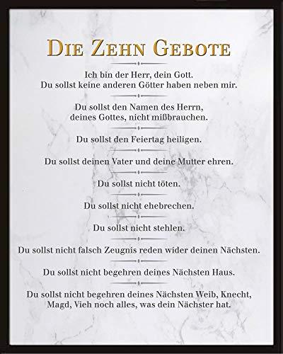 empireposter Die 10 Gebote - Weiß - Inspirations Mini Poster Plakat Druck - Größe 40x50 + Wechselrahmen, Shinsuke® Maxi Kunststoff schwarz, Acryl-Scheibe