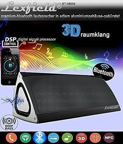 Bluetooth Lautsprecher Triangle 3D Sound Ultra Bass + Subwoofer CSR4.0 Box Sehr EDEL Drei-Vektor-ALU-Gehäuse+DSP Digital Signalprozessor, Stereo 3 Wege Surround+eingebaute 7,4 Volt, 2200 mAh Hochleistungs-Lithium-Ionen-Akku, bis zu 10 Stunden Spielzeit (Schwarz)
