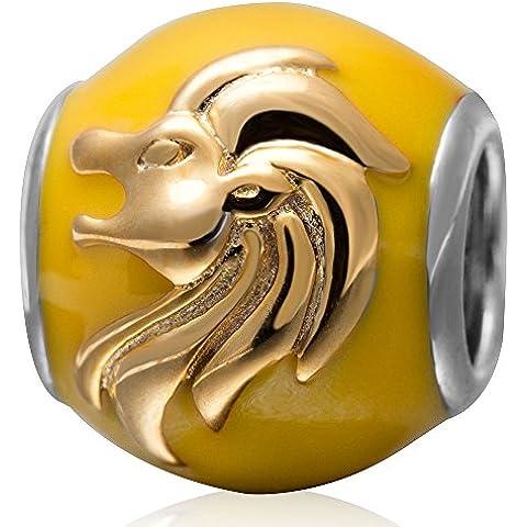 Segno zodiacale Hoobeads perle in autentico argento Sterling 925, con ciondoli