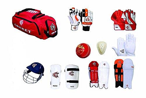 CW Team Cricket Kit Rot mit kompletter Vlies & Zubehör, ohne Bat (Team Kit, Leder Bal, Guard, Vlies & W/K Hand Handschuhe, innere Handschuhe, Helm, Arm & Oberschenkel Guard w/K Pads, Batting Pads) - Cricket-batting-kit