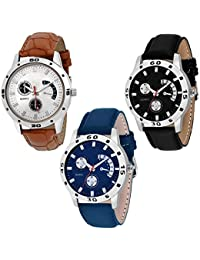 NUBELA Brown Black And Blue Color Casual Analog Watch For Boys And Mens