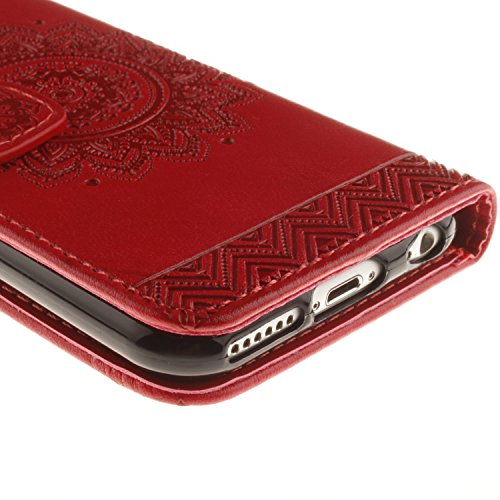 SainCat Coque Etui pour Apple iPhone 6/6s,Anti-scratch Cuir Dragonne Portefeuille PU Cuir Etui pour iPhone 6s,Coque de Protection en Cuir Folio Housse,SainCat PU Leather Case Brillant Glitter Wallet F plaques de secours-Rouge