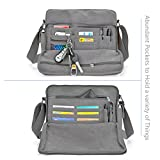 "Messenger Bag, CHEREEKI Unisex Vintage Canvas Messenger Bags Casual Sling Shoulder Pack Daypack Satchel Bag for Work, School, Daily Use - 11.8""(L) x 3.9""(W) x 10.2""(H), 26 Pockets (Grey)"