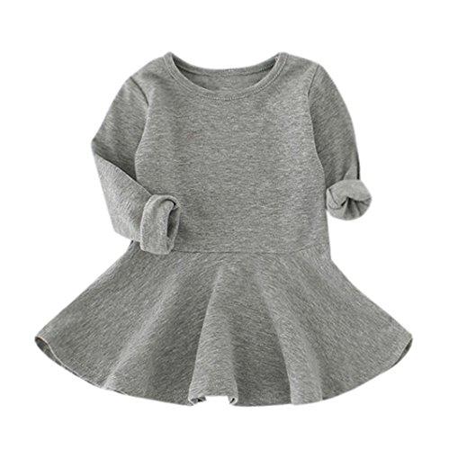 OverDose Baby Mädchen Candy Farbe Langarm Solide Prinzessin Kleid Casual Kleinkind Kinder Swing Mini Kleid(2-3T,A-Grau)