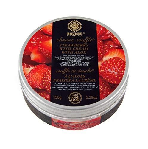 Geschenk Set Parfüm-extrakt (SAULES FABRIKA Duschgel-Ersatz Körper-souffle Soufflé Körper-Mousse Creme Dusch-Souffle-s Feuchtigkeit Silkening Body-Souffle Duft: Erdbeer-Sahne)