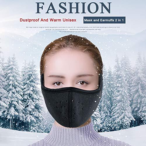 WZP Herbst Und Winter Warmhalte Plüsch Ohrenschützer Outdoor Fahrradfahren Verdicken Atmungsaktiv Kalt Schutzmaske 2 In 1,Black
