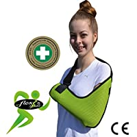 Arm Sling Shoulder Support XTRA deep, light, airflow cooling ULRA COMFORT. FEEL-SAFE with integrated functional thumb loop, easy-fit, reversible L/R arm. UNISEX.