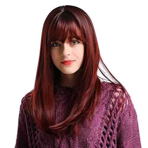 HCFKJ 2019 Perücke Chemische Faserhaar-dünne Bang-Spitze der Hauptfärbungs-schwarzen Langen roten Haar-Perücke