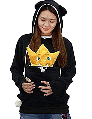 Rolanscia Femmes Sweatshirt Holder Chien Chat Hoodie Cat Eared Kangaroo Pouch Sweat à Capuche en Coton à Manches Longues Noir M