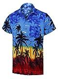 Virgin Crafts Männer Hawaii Hemd Kokosbaum Print Kurzarm Blau Aloha Vacation Shirts, Bluem, L | Brust: 46